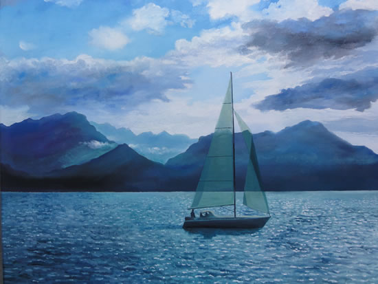 Boat Sailing On Lake at Montreux - Painting in Surrey Art Gallery