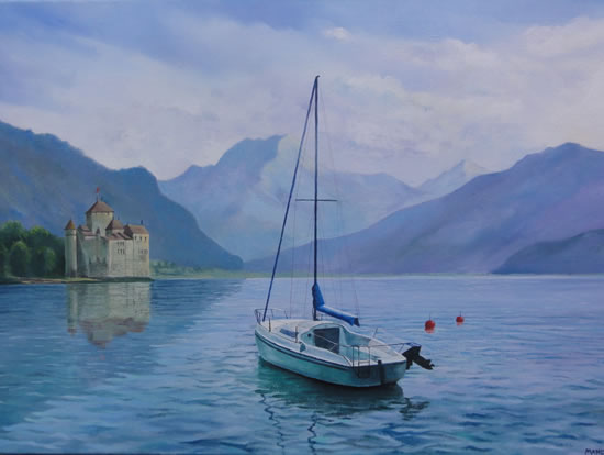 Boat On Lake at Montreux - Painting in Surrey Art Gallery