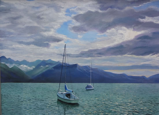 Sailing Boats On Lake at Montreux - Painting in Surrey Art Gallery