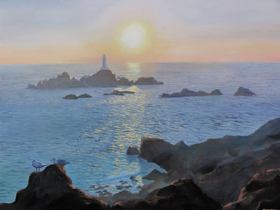 Lighthouse at Sunset at La Corbiere Jersey - Painting in Surrey Art Gallery