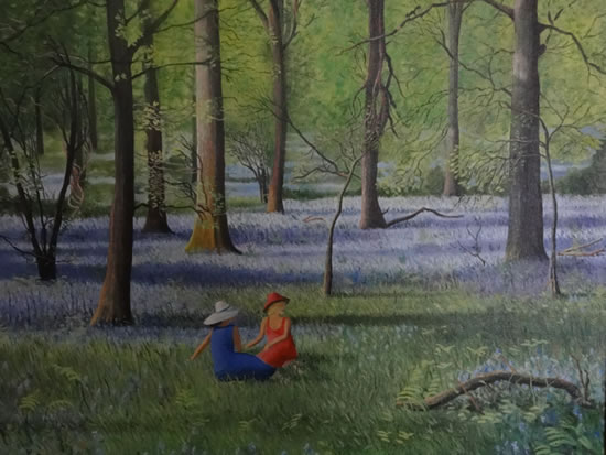Bluebell Wood - Painting in Surrey Art Gallery