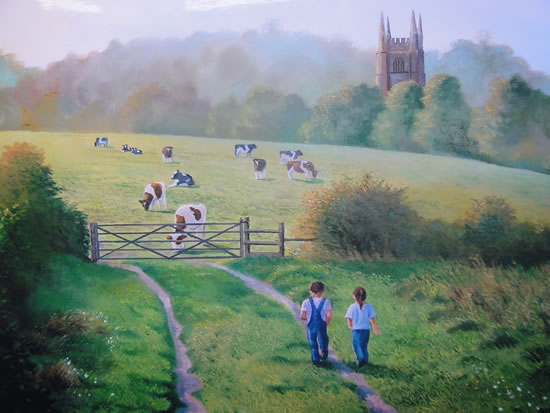 Evening Stroll - Painting in Surrey Art Gallery