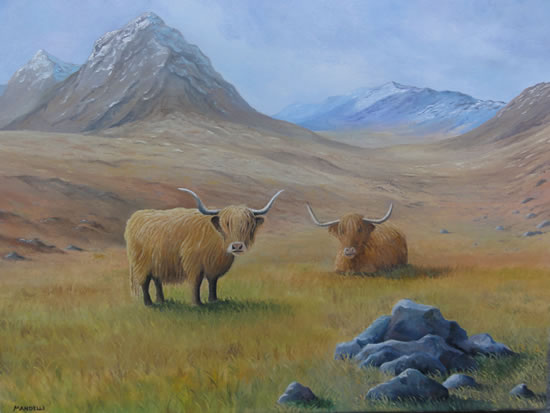 Highland Cattle - Painting in Surrey Art Gallery