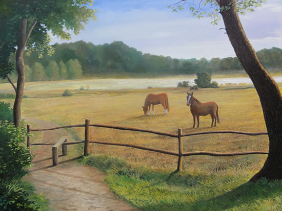 Ponies In Field - Surrey Art Gallery