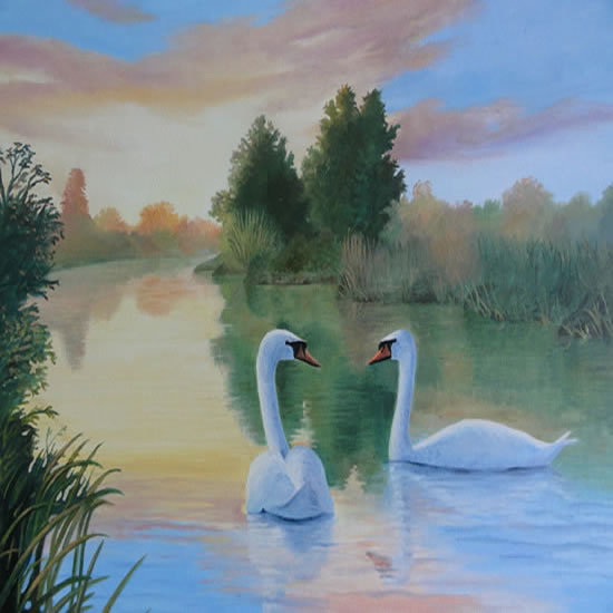 Swans - Painting in Surrey Art Gallery